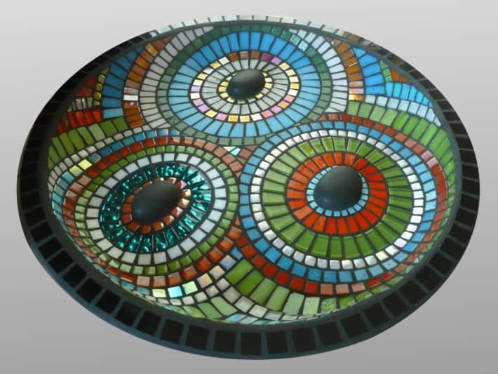 Fordite Inspired Mosaic Bird Bath